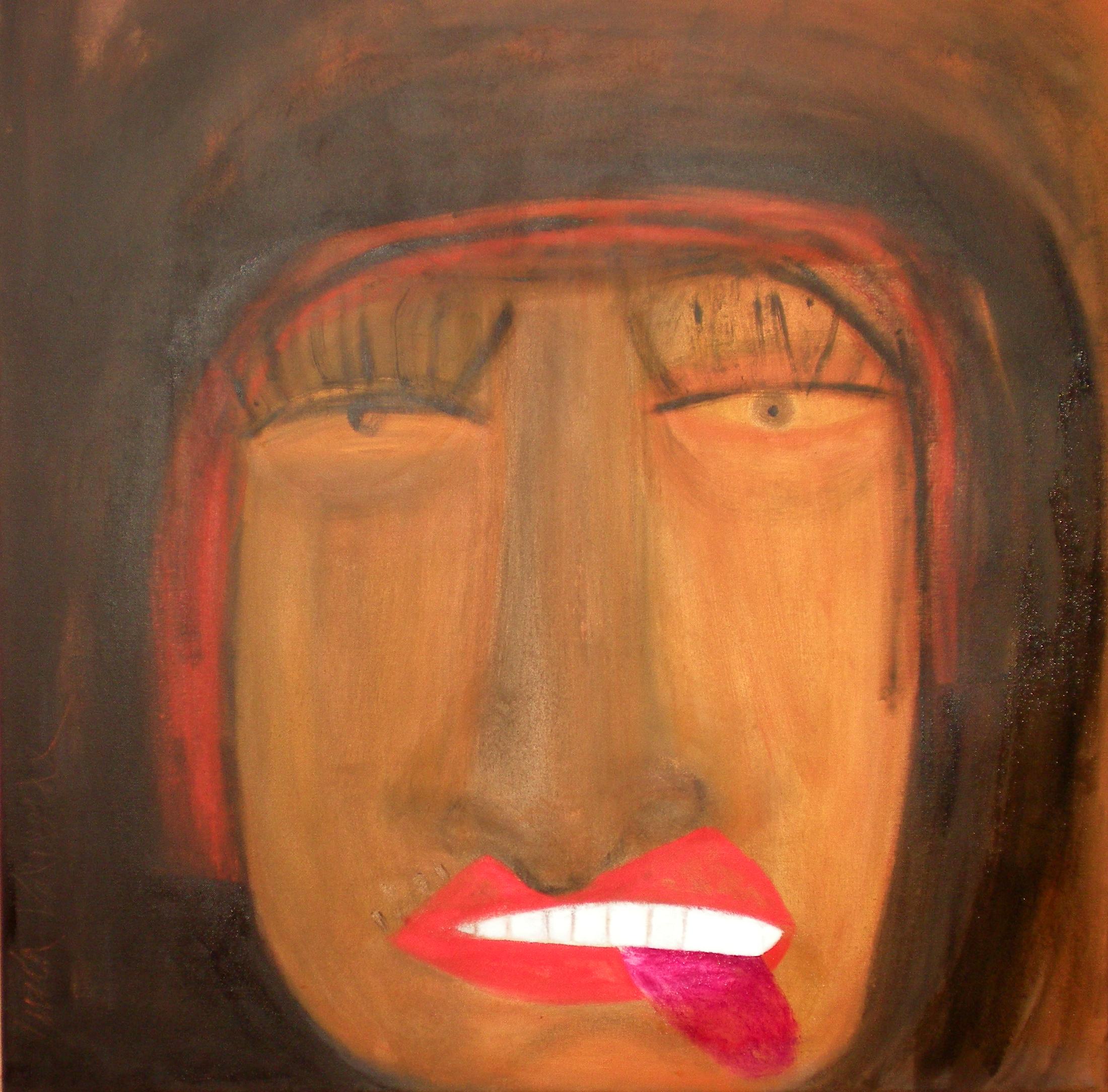 Mujer hasta las narices de morderse la lengua (80 X 80) - Lucia Valverde
